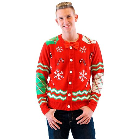 Candy Canes and Snowflakes Red Button Up Ugly Christmas Sweater with Bowtie](Red Ugly Christmas Sweater)