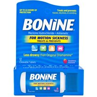 Bonine Antiemetic Chewable Motion-Sickness Relief Tablets, Raspberry - 12 ct