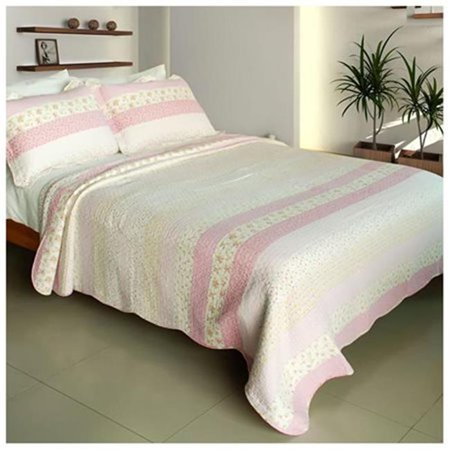 Crystal Soul - 100 Percent Cotton  3 Pieces Vermicelli-Quilted Patchwork Quilt Set  Full & Queen Size - Pink - image 1 of 1
