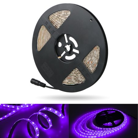 UV Blacklight LED Strip, 16.4FT/5M 3528 300LEDs 395nm-405nm Waterproof Black light Night Fishing Sterilization implicitly - Blacklight Ideas For Room