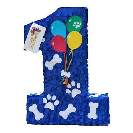 APINATA4U Large Number One Pinata for Puppy Theme Party Blue Color