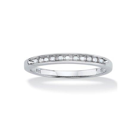 1/10 TCW Round Diamond Platinum over Sterling Silver Anniversary Ring