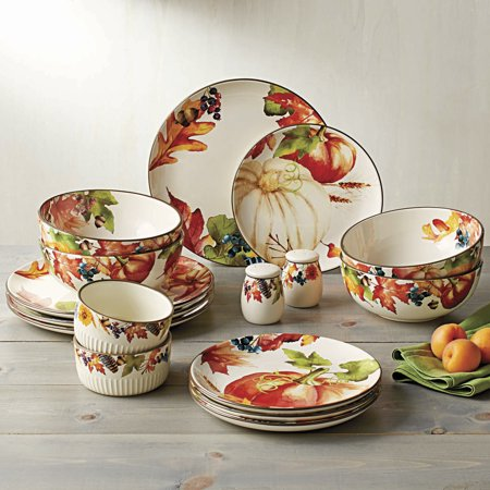 Better Homes and Gardens Fall Botanical Leaves 16 Piece Dinnerware ...