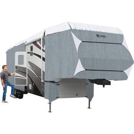 Classic Accessories OverDrive PolyPRO™ 3 Deluxe 5th Wheel Cover or Toy Hauler Cover, Fits 41' - 44' RVs - Max Weather Protection RV Cover, Grey/Snow White 5th Wheel Cover Fits