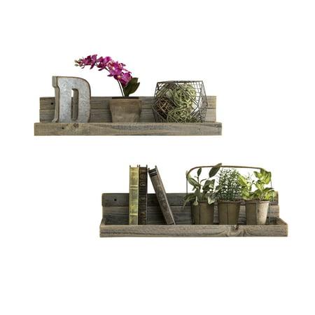 Natural Slate Water Wall - Barnwood Floating Shelves, Set of 2 Natural
