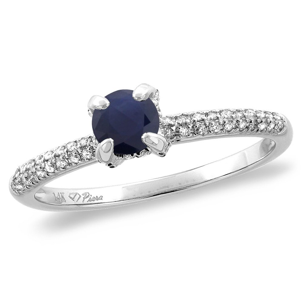 14K White Gold Diamond Natural Quality Blue Sapphire Solitaire Engagement Ring Round 4 mm, size 5 by Gabriella Gold