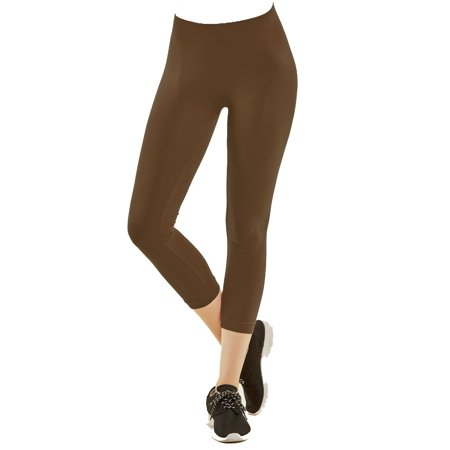 f85c32003e57 Gravity Threads - Nylon Spandex Seamless Womens Capri Leggings - Walmart.com