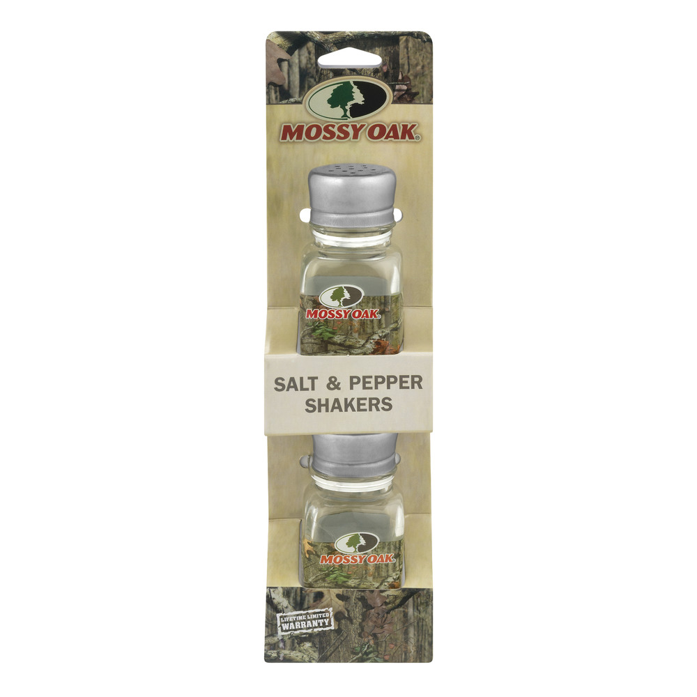 Mossy Oak 2 Pack Salt and Pepper Shakers, Brown by Lifetime Brands