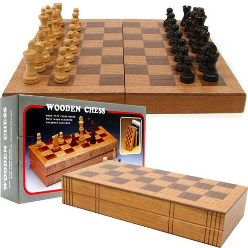 Wooden Book-Style Chess Board with Staunton Chessmen