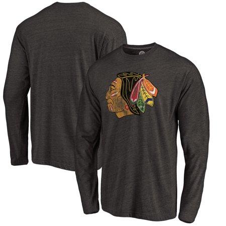Chicago Blackhawks Throwback Logo 1960-1961 Tri-Blend Long Sleeve T-Shirt - Black Chicago Blackhawks Long Sleeve Shirt