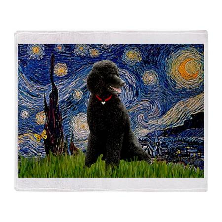 CafePress - Starry Night Black Poodle (ST - Soft Fleece Throw Blanket, 50