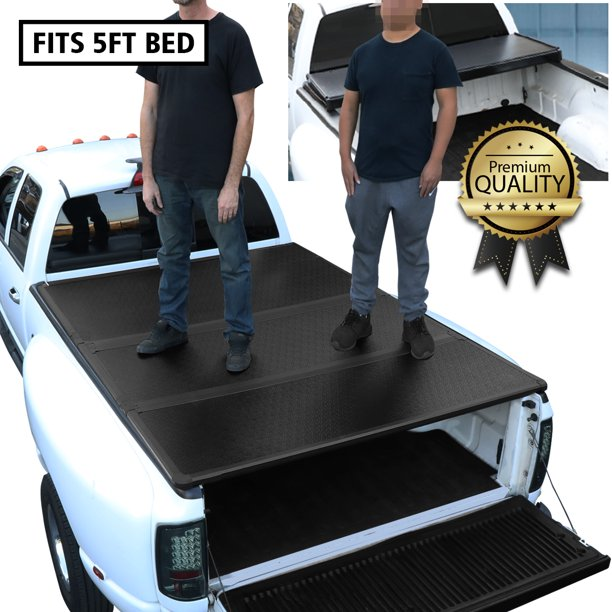 For 2016 To 2019 Toyota Tacoma 5 Ft Short Bed Hard Solid Tri Fold Clamp On Tonneau Cover 17 18 Walmart Com Walmart Com