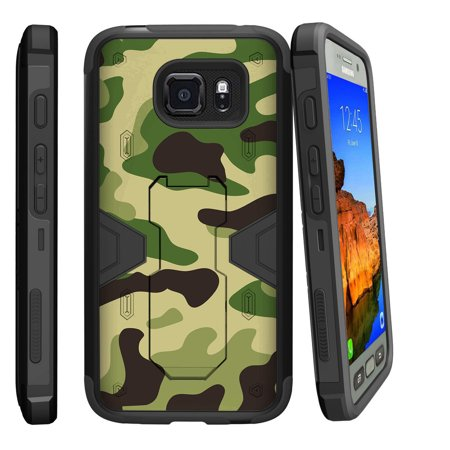 Miniturtle® Case for Samsung Galaxy S7 Active [MAX DEFENSE]- Tempered Glass + Dual Layer Case, Sleek Exterior Built in Kickstand + Holster - Green Camouflage