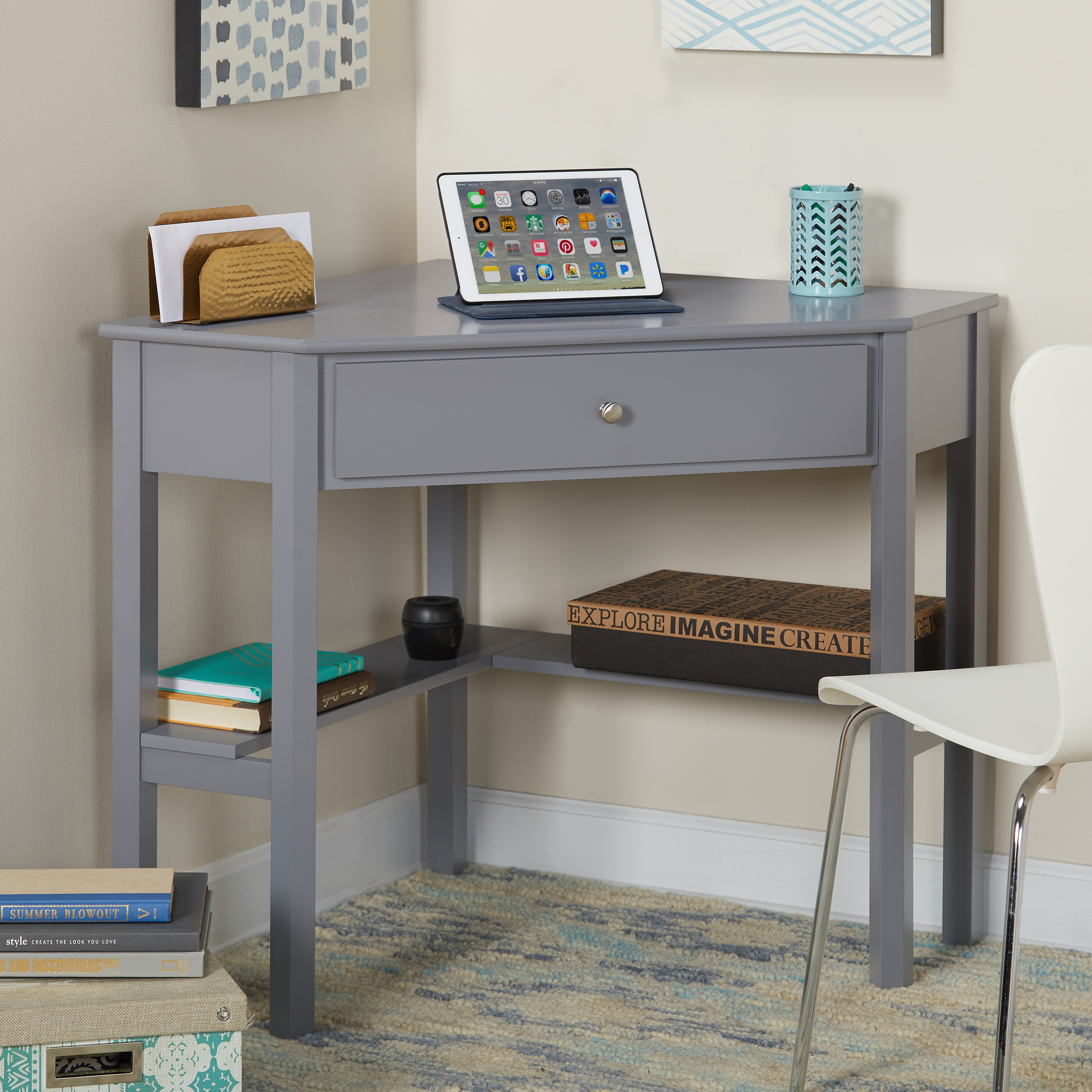 Ellen Corner Writing Desk, Multiple Colors