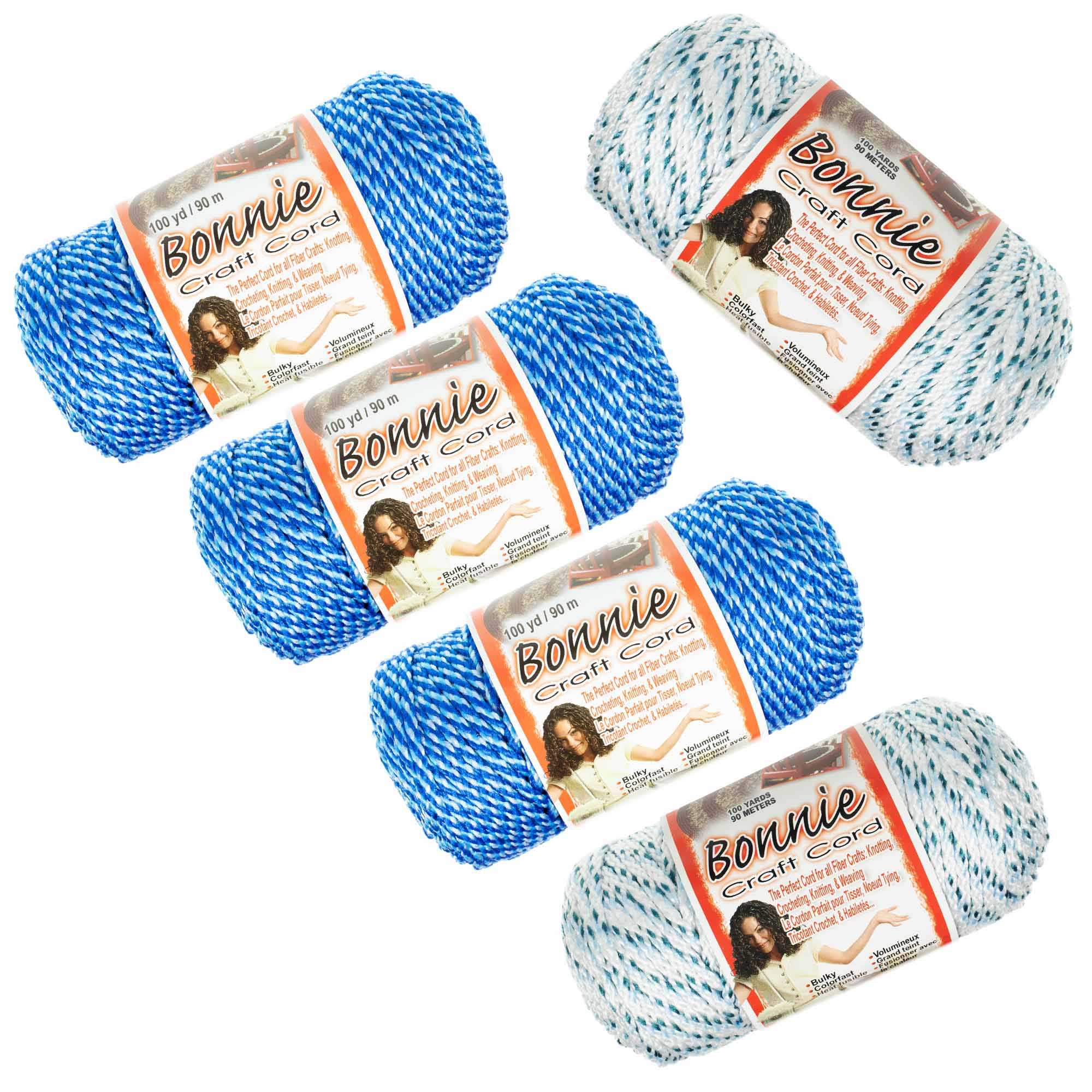 Craft County - Bonnie Macrame Cord - 4mm or 6mm - 5 Pack - 100 Yard Length - Variety of Color Combinations