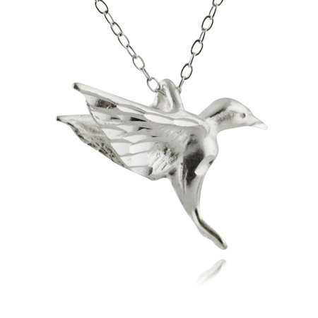 Sterling Silver Hummingbird Pendant Necklace, 18""