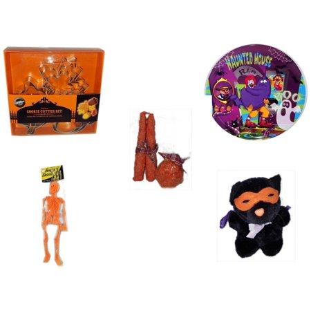 Halloween Fun Gift Bundle [5 Piece] - Wilton Autumn 8-Piece Cookie Cutter Set - McDonald's Haunted House, RIP, Boo  Plate - Autumn Orange-spice Candles Set of 3 - Hanging Skeleton Orange - Manley To
