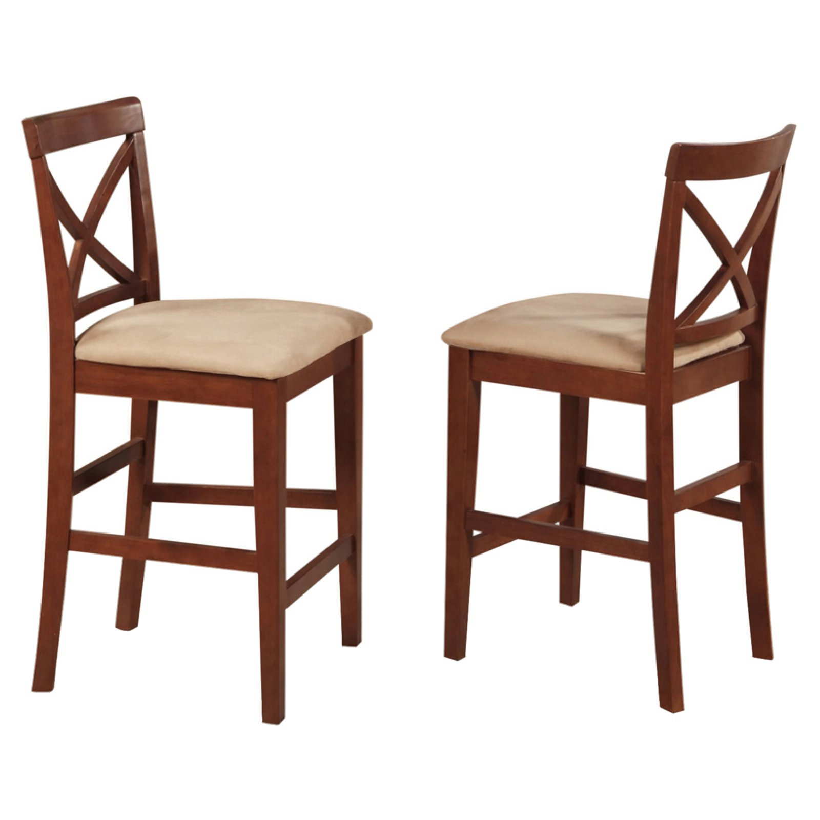 East West Furniture Boston X-Back Counter Height Stool with Microfiber Seat - Set of 2