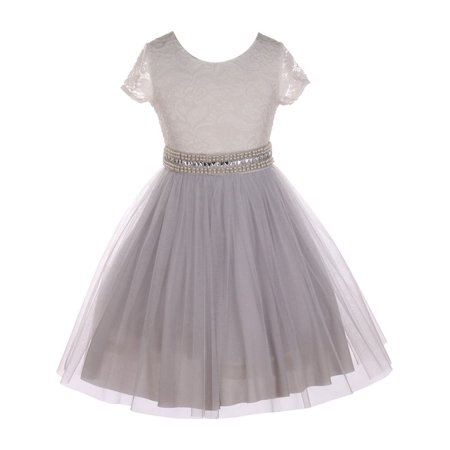 Little Girls Silver Lace Shiny Tulle Stone Adorned Belt Flower Girl Dress - Girls Silver Dresses