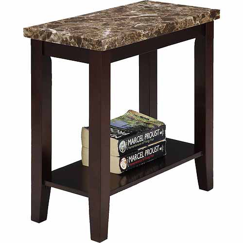 Traditional Dark Espresso with Marble Print Style Side/End Table, 24""