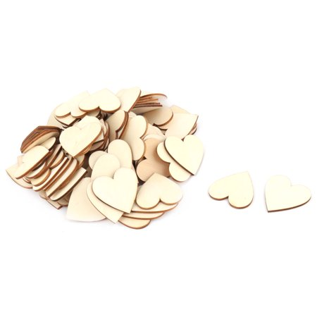 Wedding Party Wooden Love Heart Shaped DIY Craft Decoration Slices Beige 100pcs](Wood Tree Slices)
