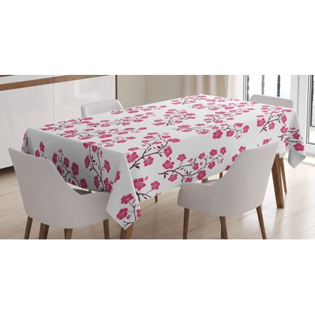 Floral Tablecloth, Twig of Sakura Trees with Bloomed Pink Cherry Blossom Flowers Pattern, Rectangular Table Cover for Dining Room Kitchen, 60 X 90 Inches, Magenta Maroon White, by Ambesonne