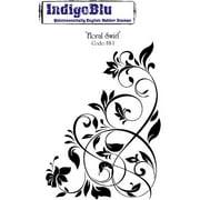 "IndigoBlu Cling Mounted Stamp 5"" x 4"", Floral Swirl"