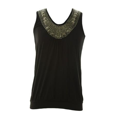 - August Silk Women's Petite Beaded Neck Sleeveless Top