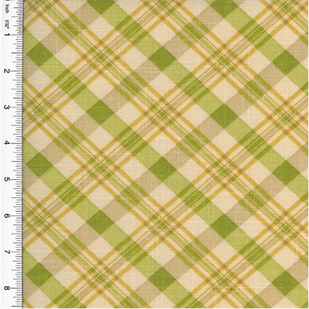 Designer Cotton Chit Chat Plaid Print Green Home Decorating, Fabric By the Yard (Green Plaid Fabric)