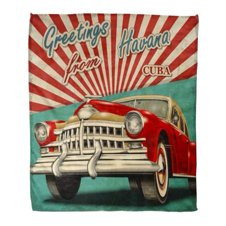 POGLIP Throw Blanket 58x80 Inches Old Vintage Touristic with Retro Car Havana Cuba 1950S Travel Greeting 1970S Message Warm Flannel Soft Blanket for Couch Sofa Bed - image 1 of 1