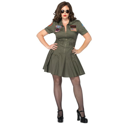 Leg Avenue Women's Plus Licensed Top Gun Flight Dress Costume - Gun Costumes