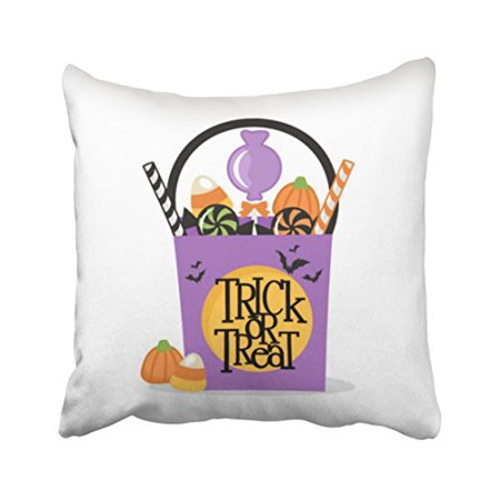 WinHome Cute Girly Vintage Halloween Trick Or Treat Candy Simple Pattern Polyester 18 x 18 Inch Square Throw Pillow Covers With Hidden Zipper Home Sofa Cushion Decorative Pillowcases (Simple And Cute Halloween Costumes)