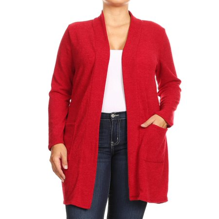 Acrylic Solid Sweater (NEW MOA Women's Plus Size Casual Basic Solid Knit Duster Cardigan Sweater with Side)