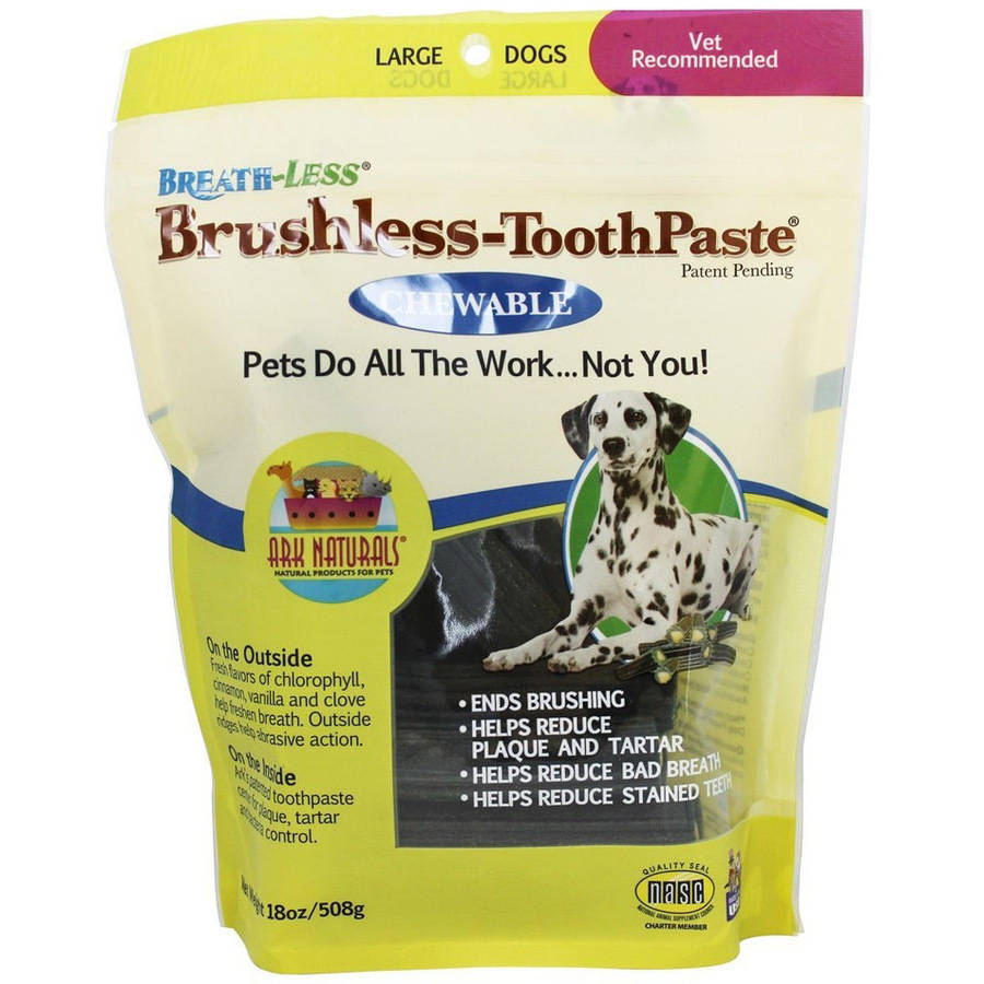 Ark Naturals Breath-Less Brushless Toothpaste Chewable Large Dog Snacks, 1.2 oz, Pack of 30