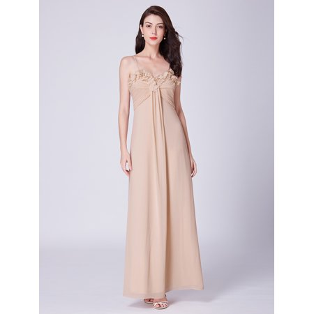 Ever-Pretty Women's Elegant Ruched Bust Sweetheart Long Chiffon Wedding Party Bridesmaid Maxi Dresses for Women 07413 US 4 ()
