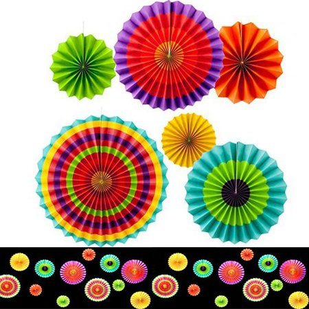 Set of 6 Vibrant Bright Colors Hanging Paper Fans Rosettes Party Decoration 8