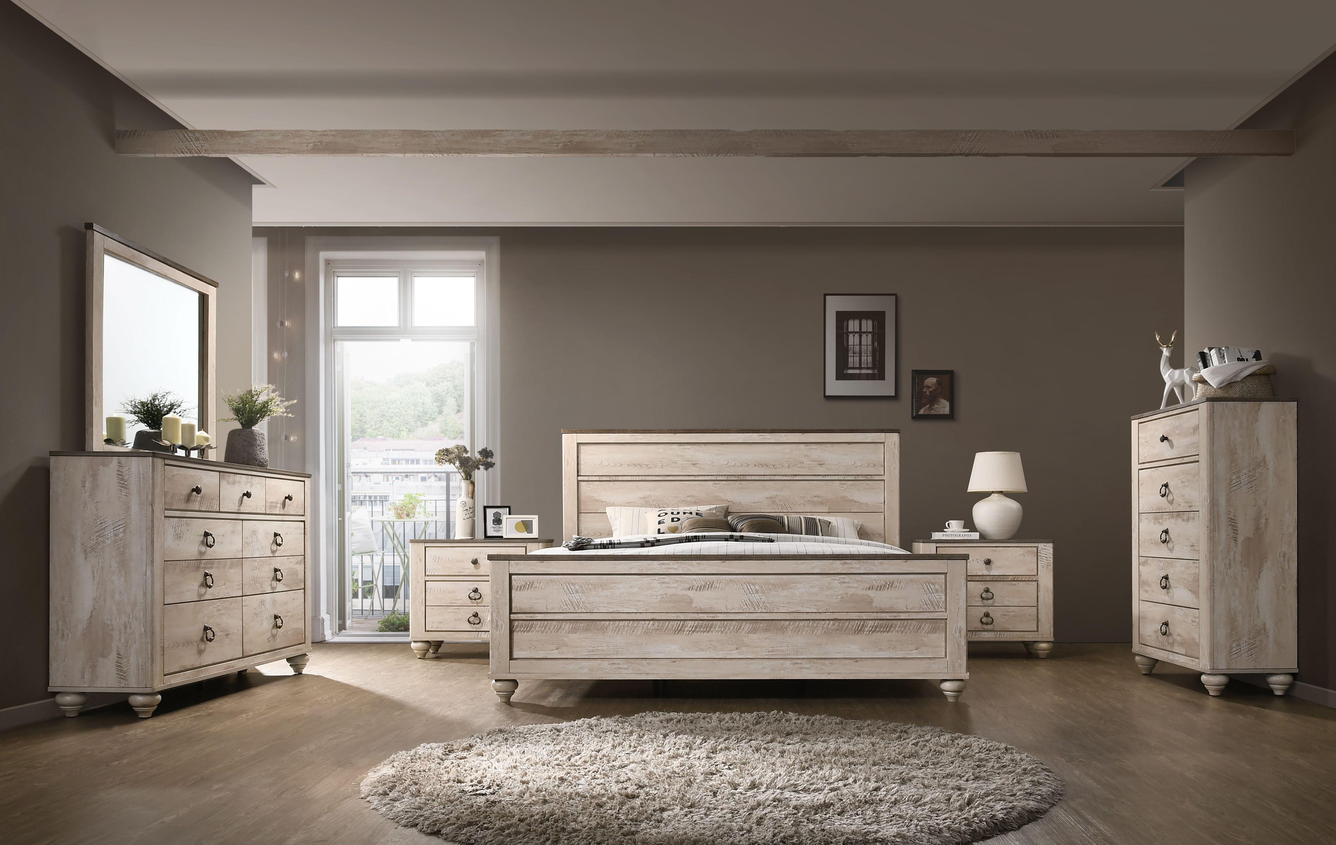 Roundhill Imerland Contemporary White Wash Finish Bedroom Set