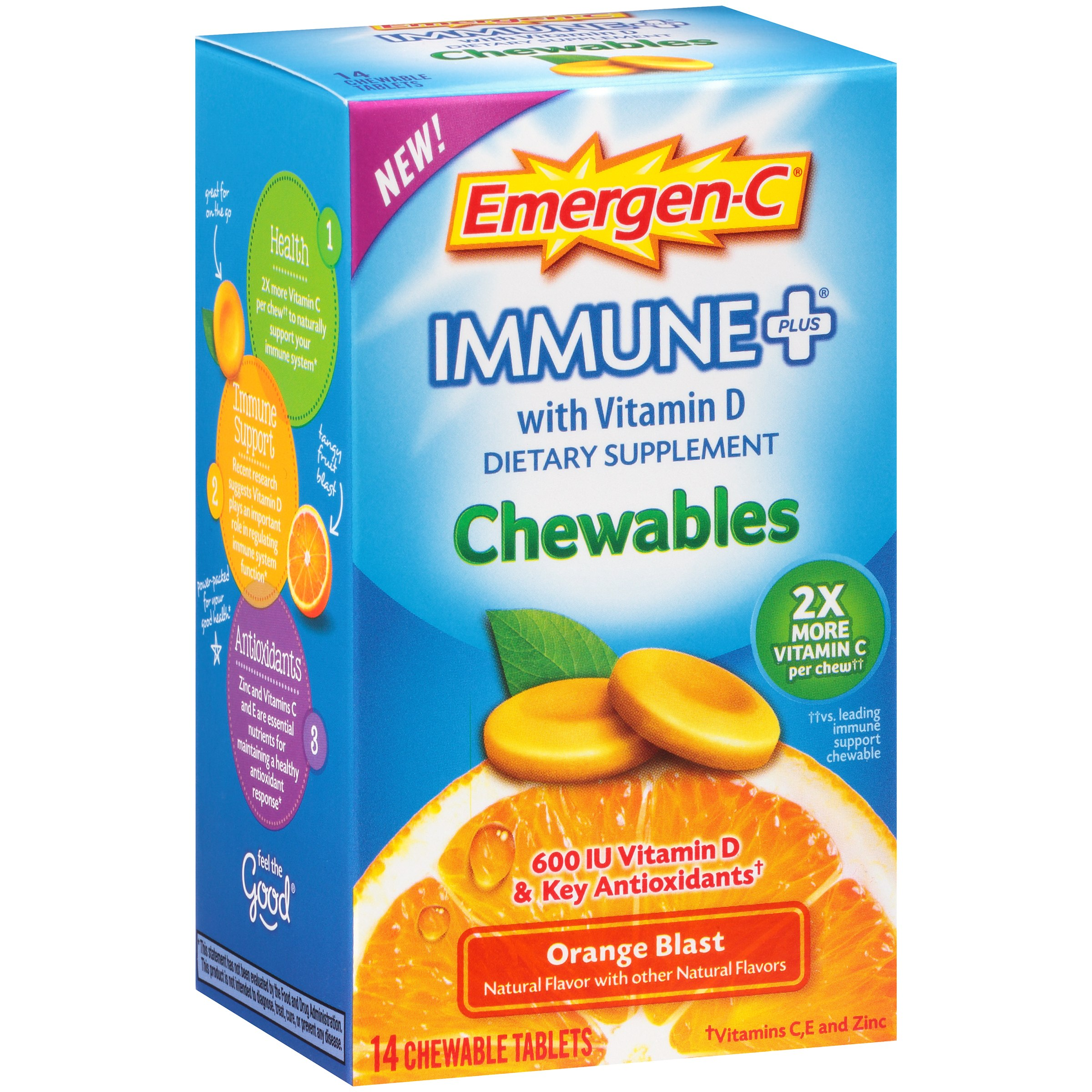 Emergen-C Immune+ Chewables (14 Count, Orange Blast Flavor) Dietary Supplement Tablet With 600 IU Vitamin D, 500mg Vitamin C