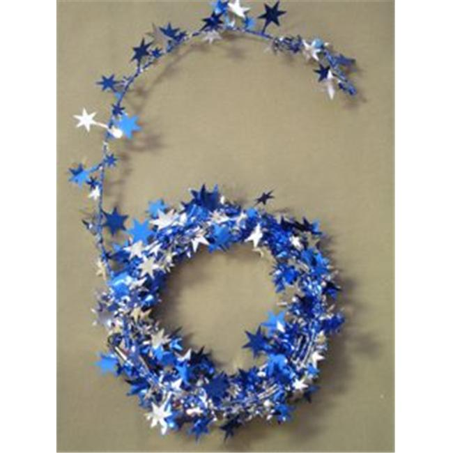 Party Deco 04519 12 ft. Silver and Royal Blue Star Wire Garland - Pack of 12