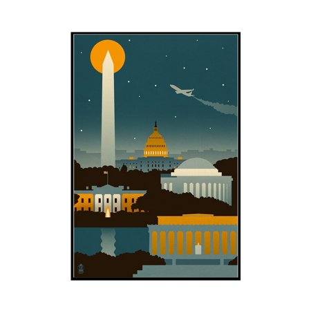 12x18 80 Lb Text (Washington, DC - Retro Skyline (no text) - Lantern Press Poster (12x18 Framed Gallery Wrapped Stretched)