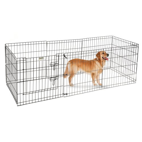 Playpen for Dogs with Panels in Black (24 in. L x 3 in. W x 24 in. H (19 lbs.))