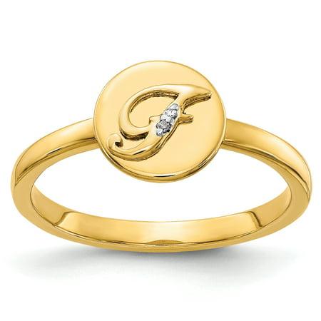 14K Yellow Gold Diamond Initial F Ring (0.006Cttw)