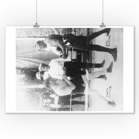 Cutler Photograph - Boxers Marty Cutler and Jack Johnson - Vintage Photograph (9x12 Art Print, Wall Decor Travel Poster)