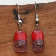 Tili Glass Red Bubbles Glass Earrings, Small