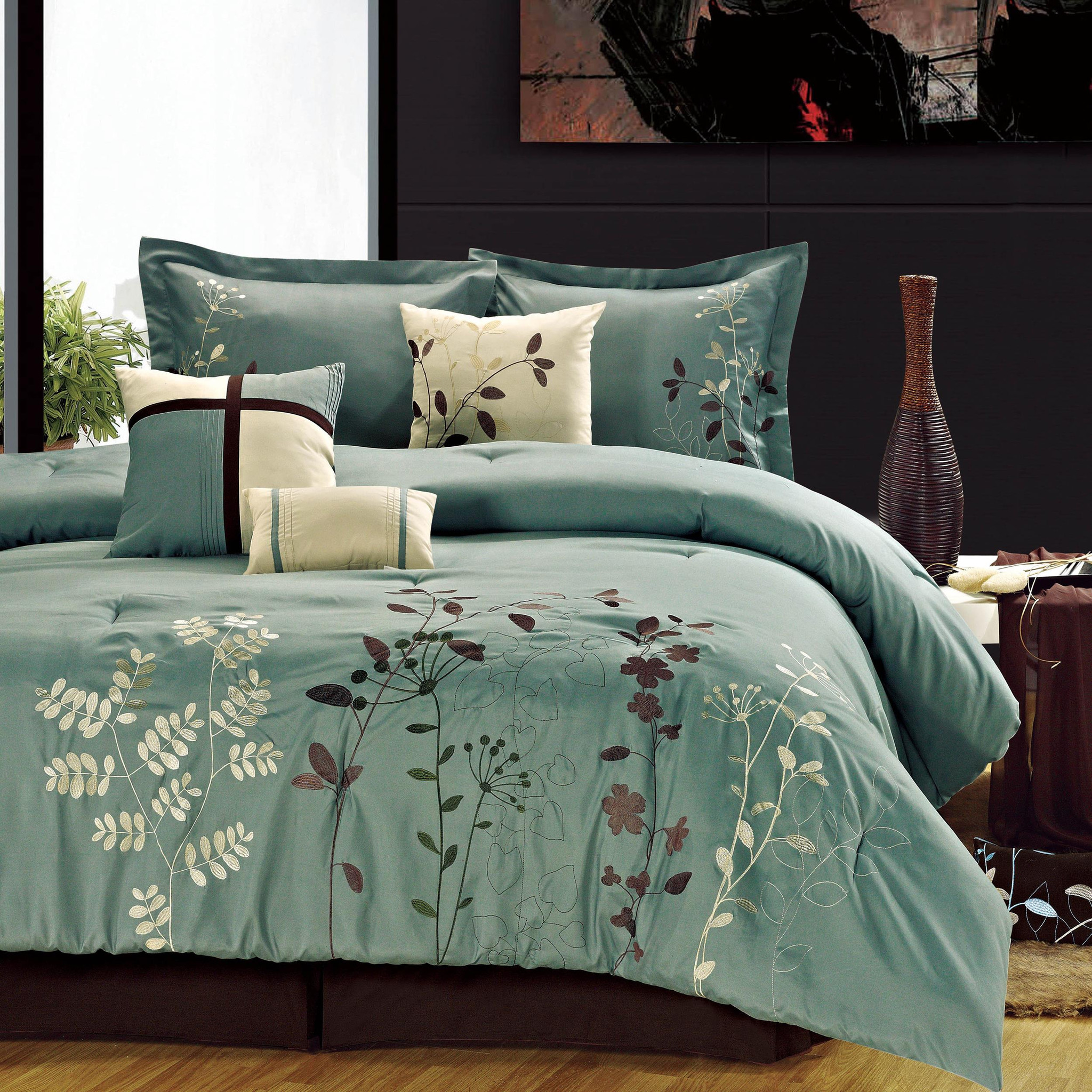 Bliss Garden Sage Comforter Bed In A Bag Set with Sheet Set 12 Piece