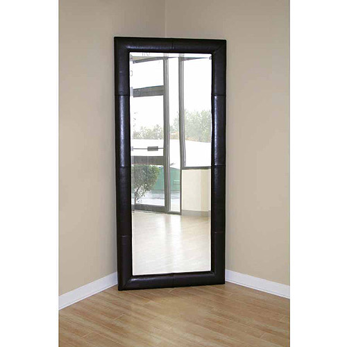 Baxton Studio Floor Mirror with Leather Frame, Multiple Colors