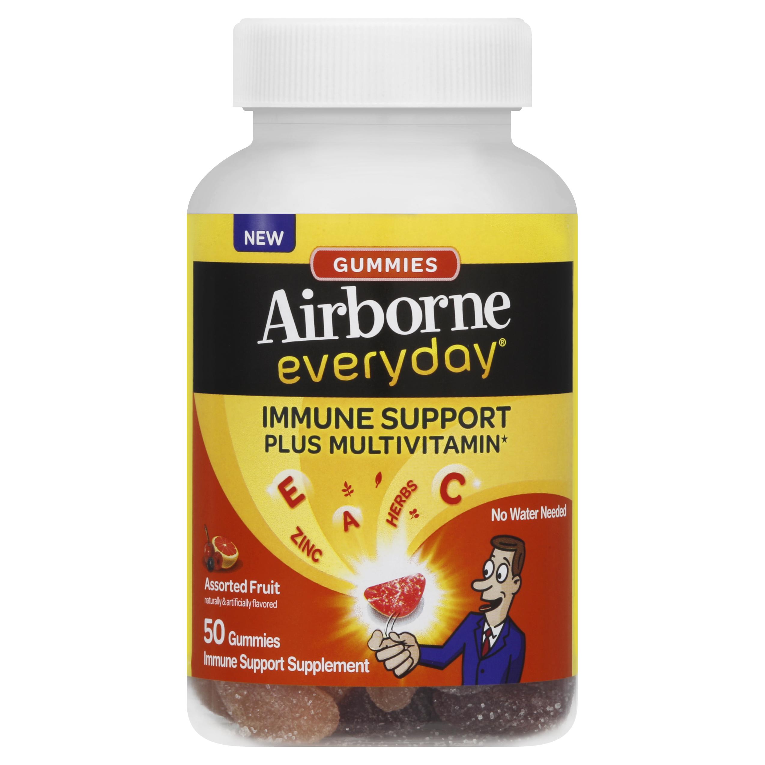 Airborne Everyday Vitamin C Immune Support Supplement and Multivitamin, Gummies, Assorted Fruit Flavor, 50 Count