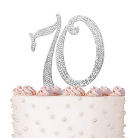 70, 70th Happy Birthday Cake Topper, Anniversary, Crystal Rhinestones on Silver Metal, Party Decorations, Favors, Vow Renewal - Happy 70th Birthday Decorations