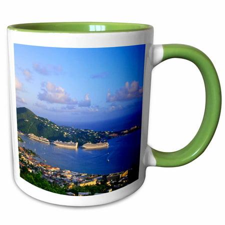 3dRose Caribbean, St. Thomas, USVI, Charlotte Amalie-CA34 MDE0003 - Michael DeFreitas - Two Tone Green Mug, 11-ounce