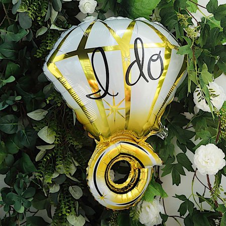 BalsaCircle 21-Inch long Gold White Large Diamond Ring Mylar Foil Balloon - Wedding Party Reception Discounted Decorations Supplies